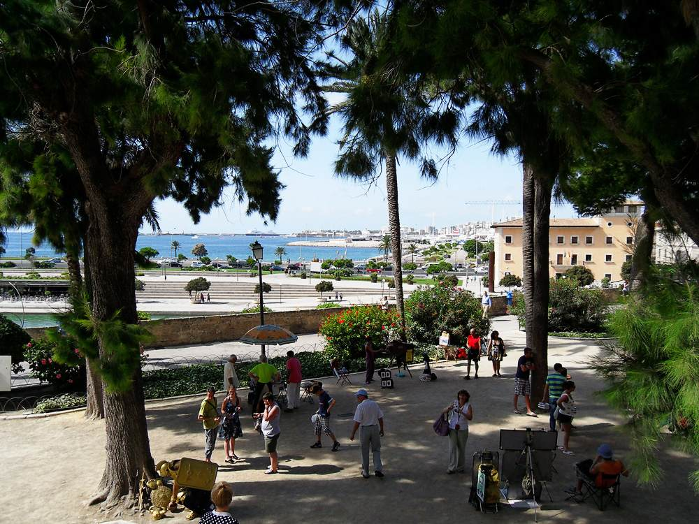 Mallorca-Palma-Kathedrale-Blick-Hafen