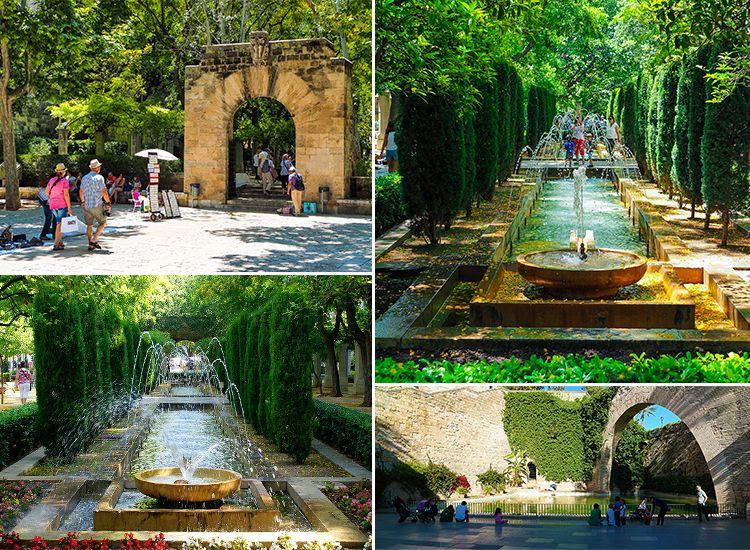 Mallorca-Palma-Jardines-de-SHort-del-Rei-Gaerten-Springbrunnen-Mauerbogen