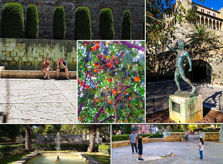 Mallorca-Palma-Jardines-de-SHort-del-Rei-Gaerten-Springbrunnen-Orangen-Sitzen-Ausruhen