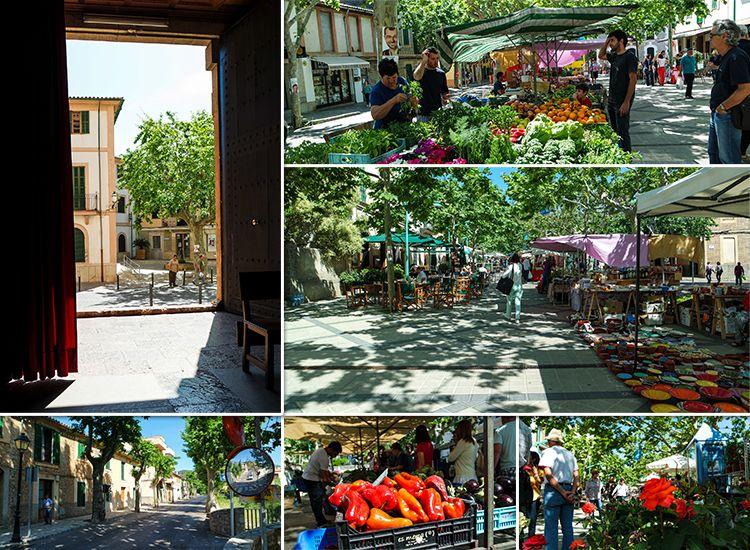 Mallorca-Esporles-Markt-Radfahrer-Kirche-Blumen-Paprika