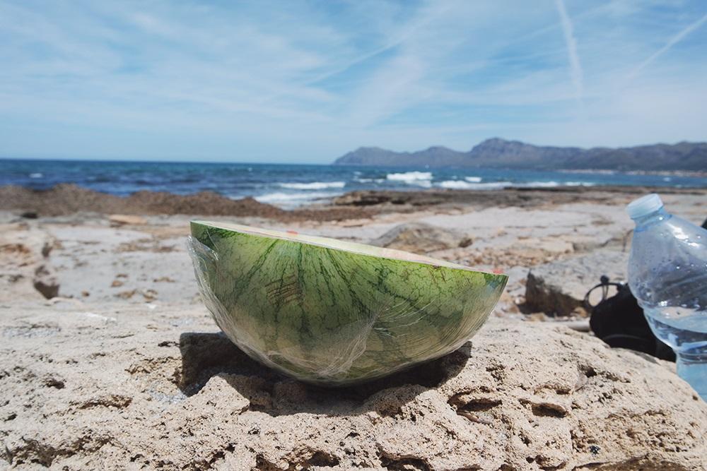 Essen-Strand-Wassermelone-Meer
