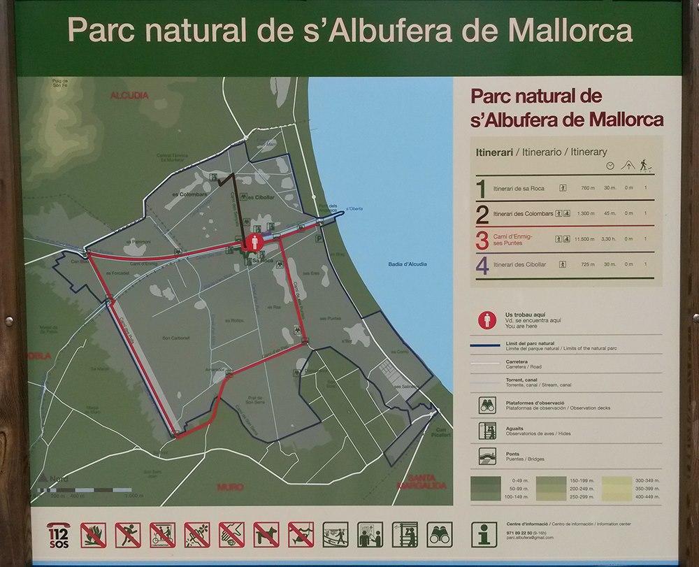 Mallorca-Albufera-Park-Alcudia-Karte-Route