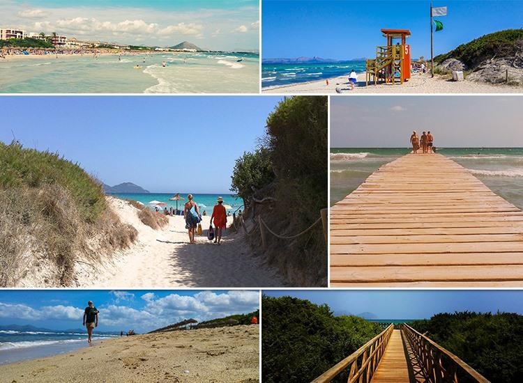 Mallorca-Playa-de-Muro-Steg-Meer-Urlauber-Baden-Strand-Wachturm-2