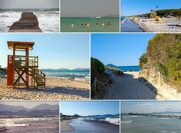 Mallorca-Playa-de-Muro-Steg-Meer-Urlauber-Baden-Strand-Wachturm