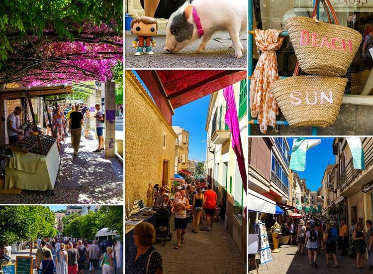 Mallorca-Wochenmarkt-Arta-Angebote-Schwein-Staende-Touristen-Taschen