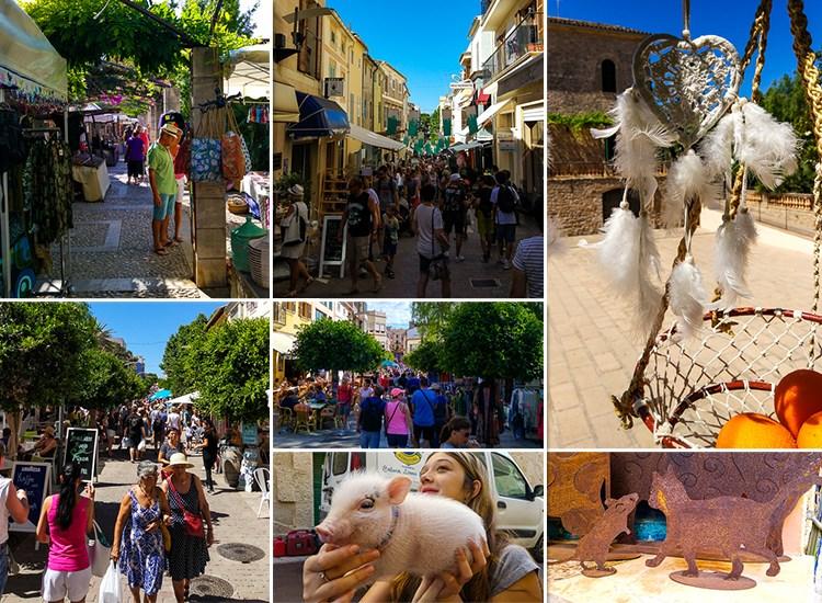 Mallorca-Wochenmarkt-Arta-Angebote-Schwein-Staende-Touristen