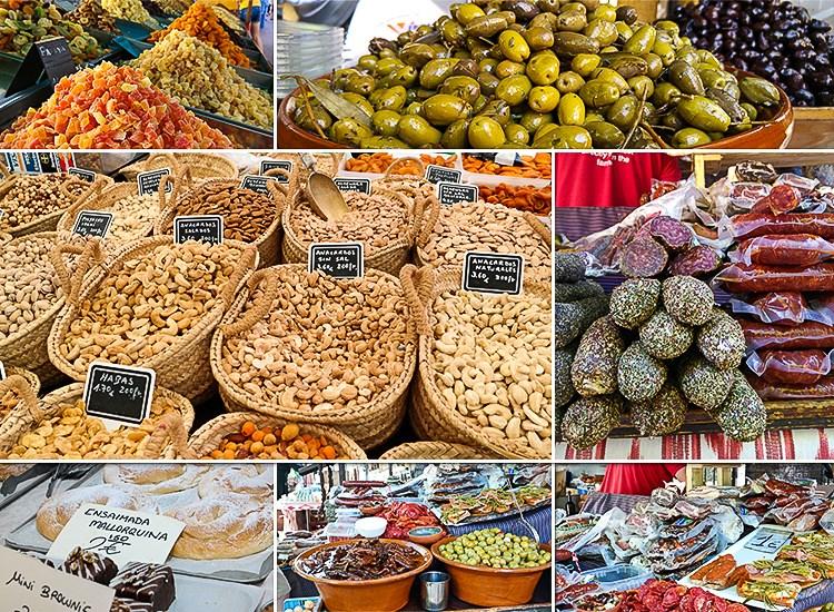 Mallorca-Wochenmarkt-Arta-Essen-Oliven-Wurst-Angebot