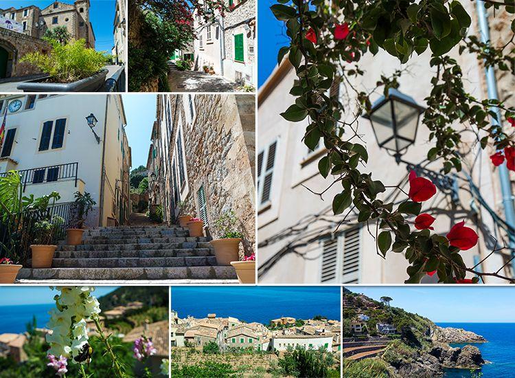 Mallorca-Banyalbufar-Terrassen-Ausblick-Meer-Treppen-Ort